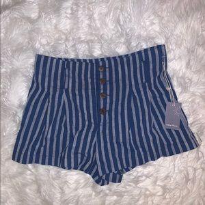 High Waisted Strip Shorts